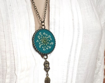 boho necklace, gift for girlfriend, botanical jewelry, blue necklace, nature jewelry, boho chic, teal pendant, unique gift for women