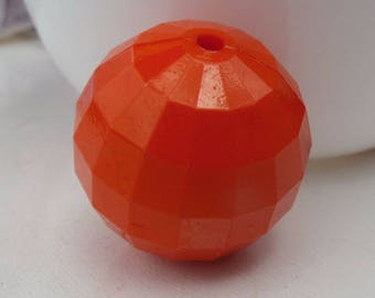20mm 10CT. Chunky Orange Faceted Acrylic Gumball Beads, E34