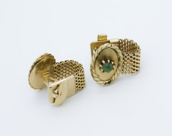 CuffLinks Malachite Wraparound Vintage Gold Tone Antique Dante Oval Wedding Gift for Groom Cufflinks Classic - Aleks Jewelry