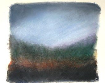 Landscape Painting- Field and Sky- Original Mixed Media- Woodland, Twilight, Evening- Blue, Rust, Green, Black- 8x10