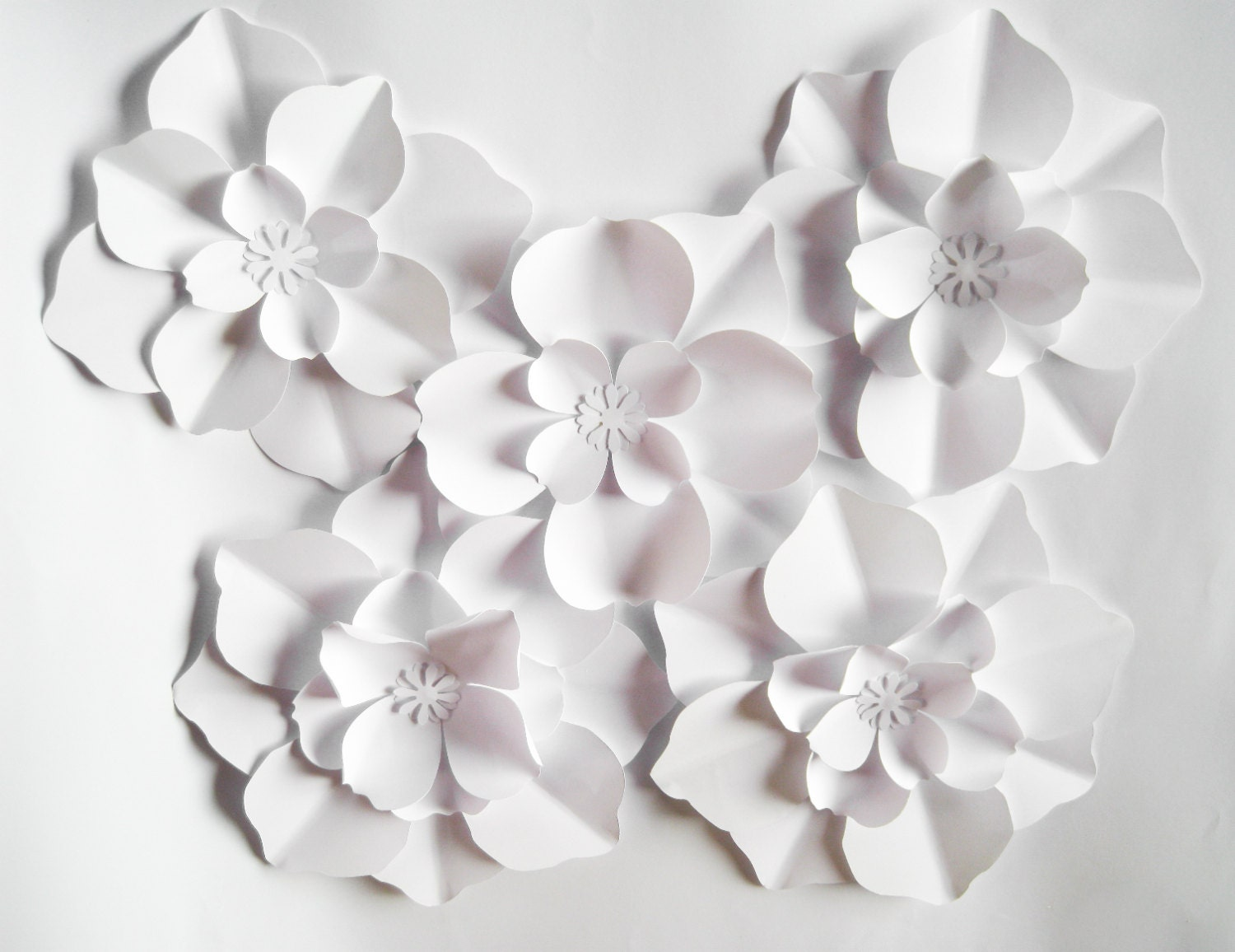 5 White Paper Flowers Big Paper Flowers Arch Flowers Wall