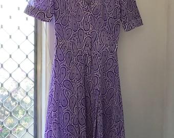 purple paisley vintage womens dress