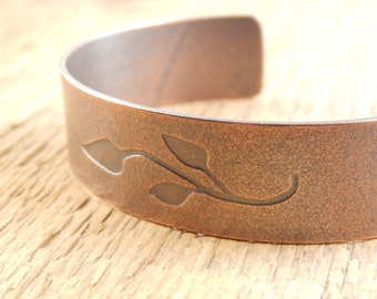 Copper cuff bracelet, branch and leaves, floral cuff, 5/8 inch wide.