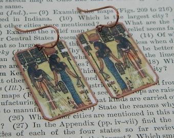 Egyptian earrings Ancient Art earrings Egypt jewelry mixed media jewelry wearable art