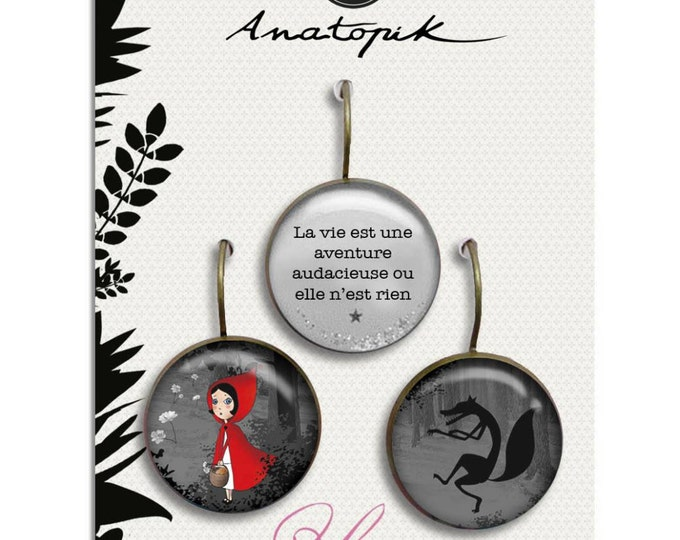 Trio (28) Riding Hood earrings / Valentine / - Youpla & Anatopik (18mm in diameter) - the feather ear collection