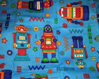 Blue Robots Fabric