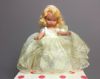 "Nancy Ann 1940s Storybook Doll - Bisque Doll ""Snow Queen"" with Tag Stand and Box - #172 - Wee Doll"