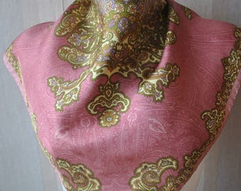 Vintage paisley  lilac green silk square scarf