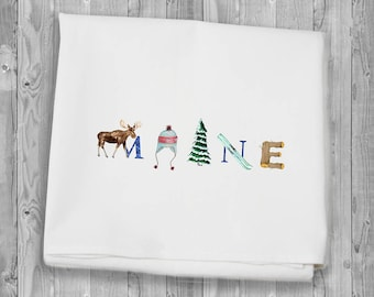 Maine Winter Flour Sack Towels for kitchen and bar