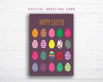 Easter digital greeting card, Happy Easter Printable Card, Download Easter Card, Digital Happy Easter Card, Easter Eggs Card Printable