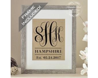 FRAME INCLUDED Wedding Gift, Burlap Wedding Gift, Gift for Couple, Monogram Gift for Bride, Best Friend Gift, Bride Gift, Bridal Shower Gift