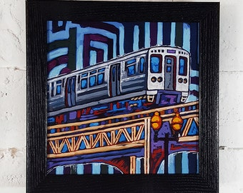 Blue El Train, Chicago El, downtown Chicago, Chicago train, Chicago Loop, Box Frame Art Print on Canvas