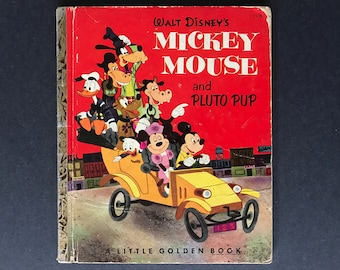 Walt Disney's Mickey Mouse and Pluto Pup Vintage Golden Book A Edition
