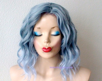 Ombre wig. Lace front wig. Pastel blue wig. Beach wavy wig. Durable heat friendly wig for everyday wear or Cosplay