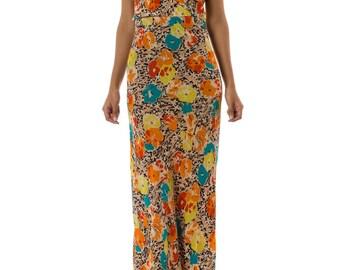 1930s Bias Cut Floral Printed Halter Maxi Dress SIZE: XS