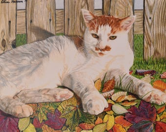 Cat in Leaves Print