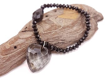Unique One of a Kind Black Bracelet With a Glass Heart, Elastic Bracelet