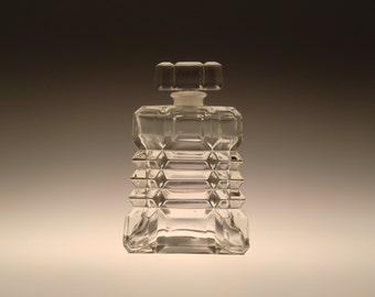 Bohemian Czech Cubism Cut Glass Perfume Bottle