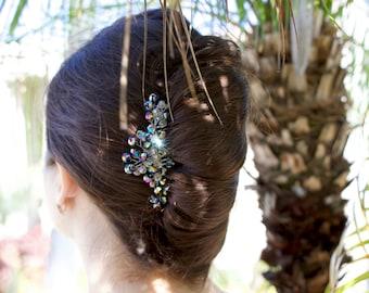 Crystal Hair Comb, Bridal Hair Pieces, Bridesmaid Hair Pieces, Silver Hair Piece, Bridal Head Pieces, Decorative Hair Comb, Bridal Hair Clip