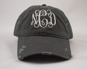 Distressed Hat, Monogram Hat, Distressed Monogram Hat, Personalized Hat, Custom Hat, Monogrammed Hat, Distressed Hat, Pigment Dyed
