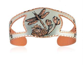 Dragonfly design handmade copper bracelet-flexible so fits every wrist, lightweight, not tarnishing