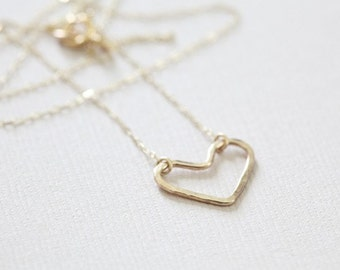 open heart necklace, dainty necklace, everyday necklace - 14k gold filled