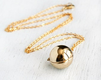Gold Plated Ball Locket Necklace