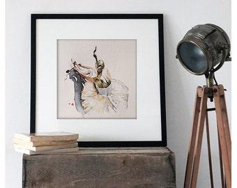Watercolor Print. Ballerina art portrait. Home art.