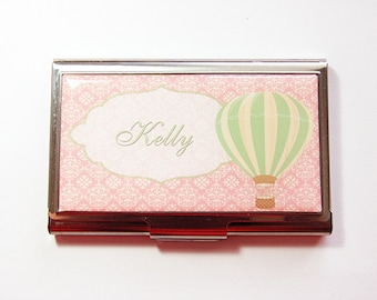 Personalized Business Card Case, business card holder, Personalized, card case, Custom Case, damask, Hot Air Balloon, Pink (4152)