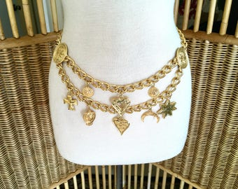 Vintage 80s Double Gold Chain Charm Belt with Dangling Moon Sun Hearts Made in Spain Gold Plated