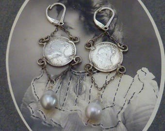 ANTIQUE sterling VICTORIA  ENGLISH 3 pence coin  vintage  assemblage earrings