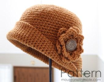 Crochet Hat PATTERN /Tupelo Flower / 5 sizes (infant - XL adult) / PDF 1623