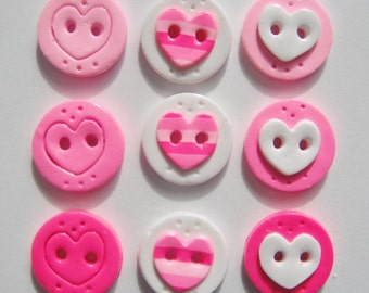 Button Mix Stripe Hearts handmade polymer clay button set ( 9 )