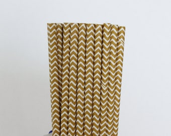Matte Gold Chevron Paper Straws-Gold Straws-Chevron Straws-Wedding Straws-Zigzag Straws-Drinking Straws-Mason Jar Straw-Gold Party Straws