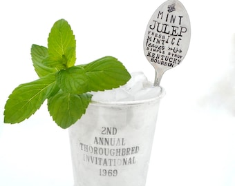 The MINT JULEP Stamped Tall Cocktail Spoon or Choose Teaspoon Size. The ORIGINAL Subway Poster Art Style Cocktail Recipe Stirrer Spoons™