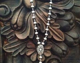 Southwestern Jewelry Rosary Necklace Navajo Jewelry Navajo Pearls Navajo Pearl Necklace Silver Rosary Religous Jewelry Silver Jewelry