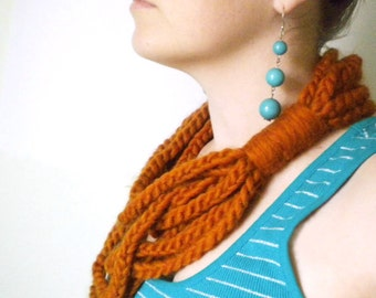 Crochet Chain Scarf in Persimmon Orange - Winter Chain Scarf Infinity Scarves for Women
