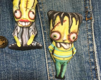 Original Art Cute and Creepy Broach or Lapel Pin Whimsical Art Frankenstein and His Bride Monster Doll Fun Goth Love Collectible Old Movie