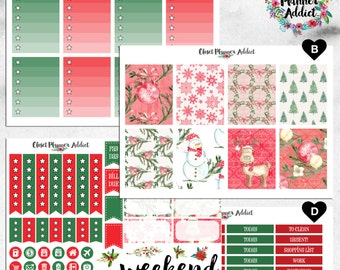 Vertical Weekly Kit Planner Stickers - Watercolour Christmas | Boxes, MDN Stickers, Icons | For Use With Erin Condren Life Planner™ (EC-022)