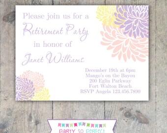 CHRYSANTHEMUM Retirement, Shower or Birthday 5x7 Party Invitation Printable