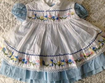 SALE Vintage baby girls blue dress + embroidered pinafore set 1 year or 12 months