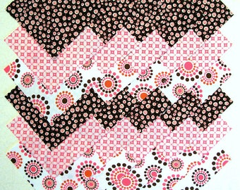 Retro PINK & DARK BROWN 5 inch Prewashed 100% Cotton Fabric Quilting Squares (#D/76A)
