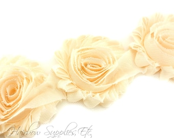 Cream Shabby Flowers 2-1/2 inches - Shabby Trim, Shabby Rose Trim, Shabby Flowers by the Yard, Shabby Flowers Wholesale, Chiffon Trim