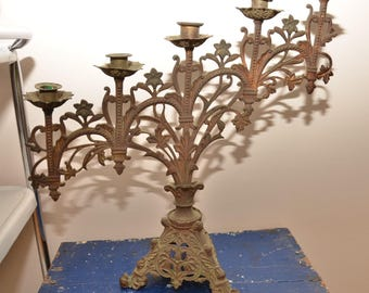 Large Antique Brass Candelabra Altar Candle Holder Church Candleholder Gothic Cathedral Victorian floral metal Huge Heavy 1900