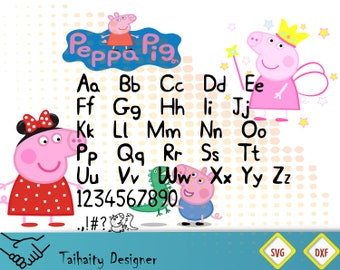 Peppa Pig font svg file/Peppa Pig alphabet svg, dxf/ Printable/ SVG cut file/ Vector/ Digital/ Print/ Instant download