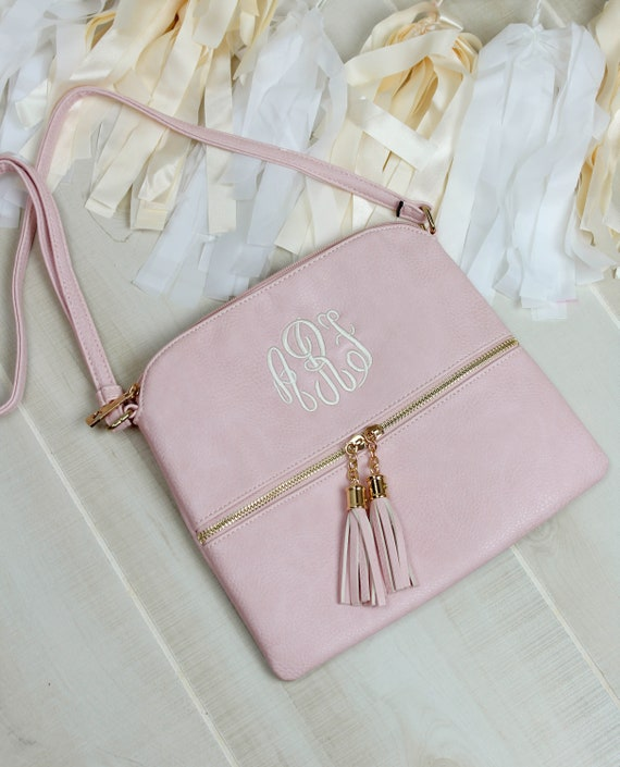 Monogrammed Cross Body Purse - Blush