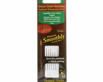 Clover Black Gold Hand Sewing Needles Appliques/Sharps Sizes 9-12