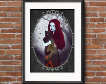Sally and the black cat - poster Digital Illustration printed on A4 photo paper