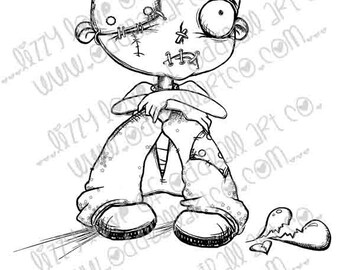 Digi Stamp Digital Instant Download Spooky B-Cute Creeps ~ Gloomy Guss Image No. 222 by Lizzy Love