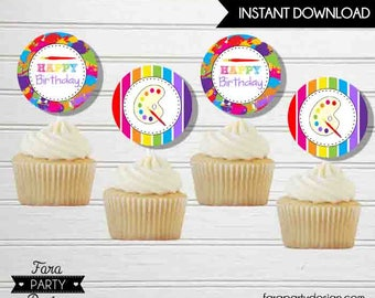 Art Birthday Party PRINTABLE Circles Cupcake Toppers by Fara Party Design   Art Theme Party   Art Birthday